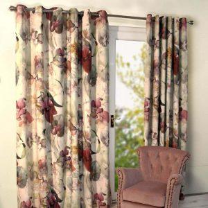 Noa Purple Eyelet Readymade Curtains