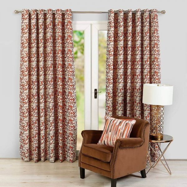 Sigma Ready Made Curtains - Orange