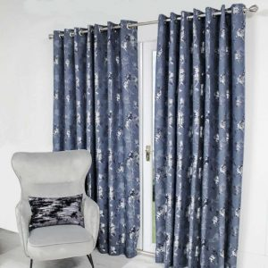Watercolour Trees Pre-Made Curtains - Navy